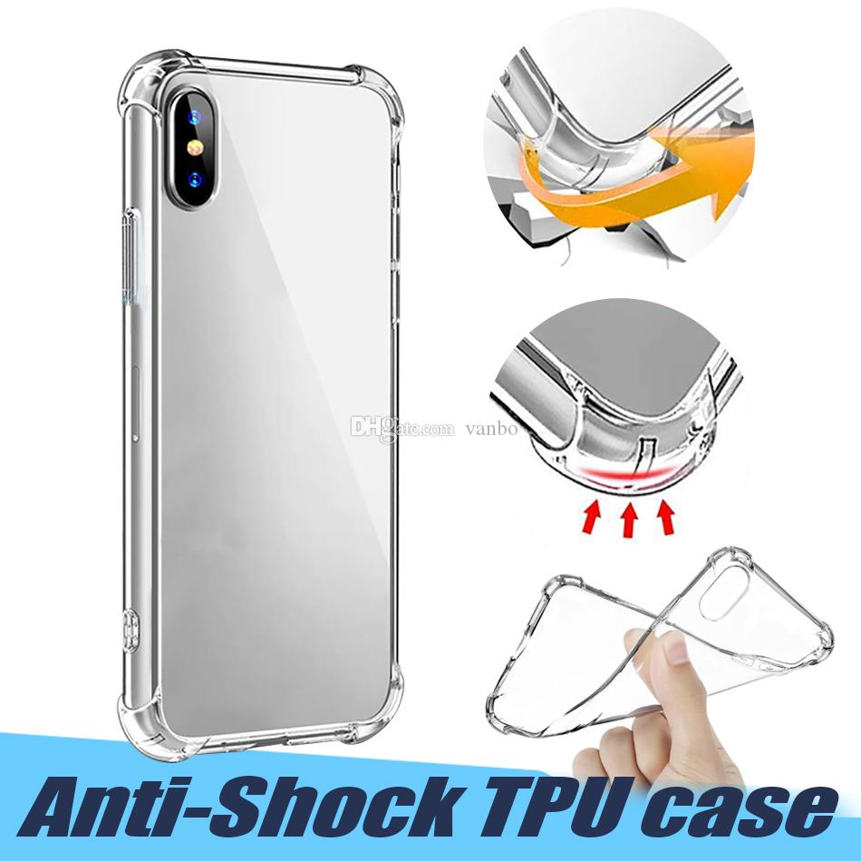 For iPhone X XR XS Max Crystal Clear TPU Case Soft Shockproof TPU Back Cover Case For Samsung S10 Plus Note 9