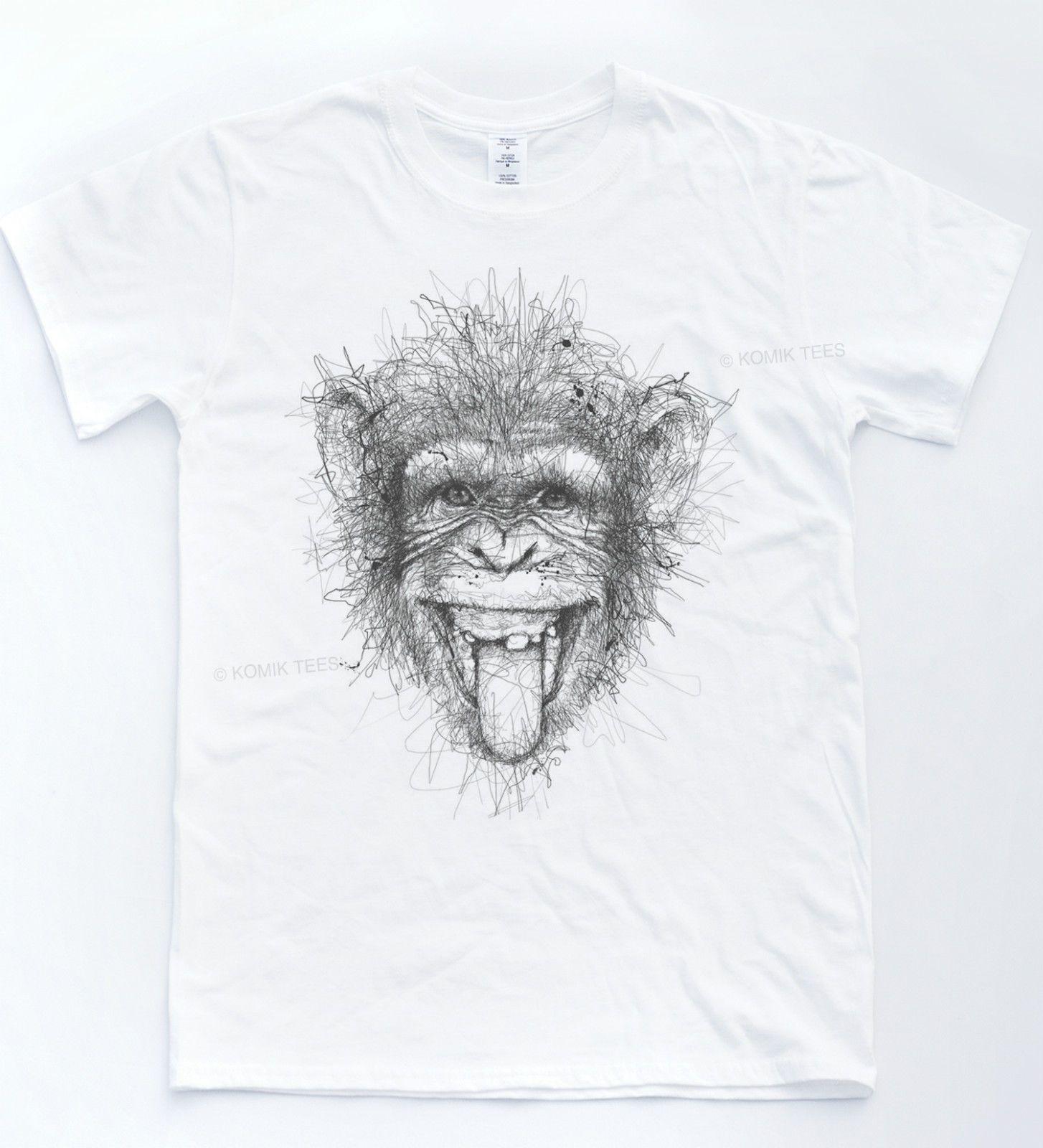 Monkey sketch t shirt drawn art indie tee animal chimp funny portrait pencil top colour jersey print t shirt jersey print t shirt shirt designs best t