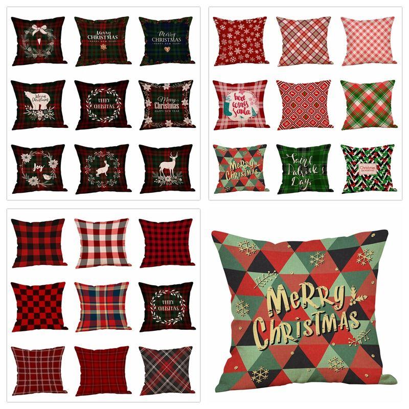 Plaid Christmas Pillows.Christmas Pillow Case Plaid Elk Bear Printed Throw Pillow Covers Xams Sofa Cushion Cover Home Party Decoration Pillows Case Gga1446