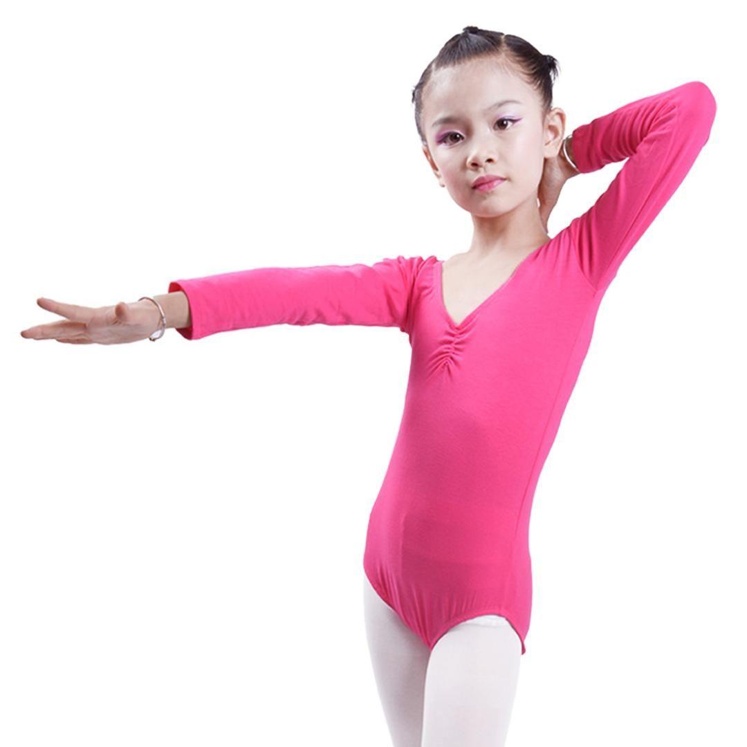 24514c0da9ea 2019 New Kids Long Sleeve Leotard Girls Cotton Ballet Dance Bodysuit ...
