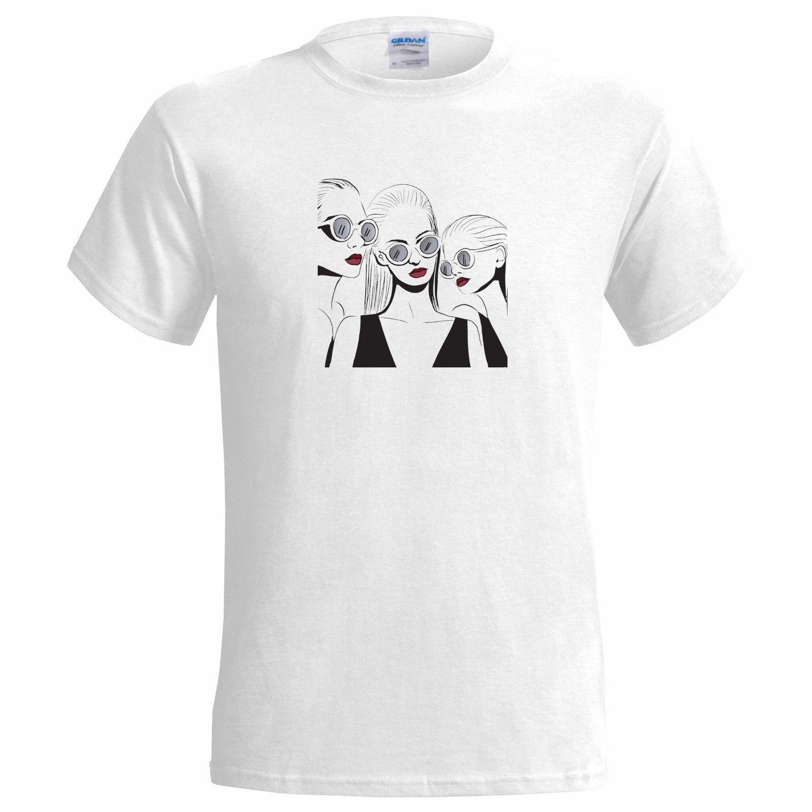 3 Fashion Girls Art Mens T Shirt Artist Women Summer Cool Design