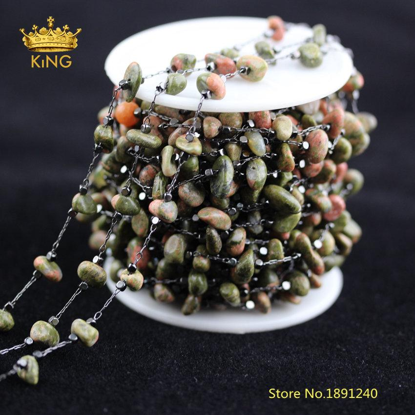 5Meters 5-8mm Chips Unakite Beads Rosary Chains Jewelry Crafts,Natural Stone Wire Wrapped Charm Links Chains Findings Bulk HX206