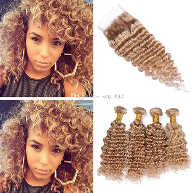 Virgin Peruvian Honey Blonde Curly Hair Weave 4 Bundles with Closure Deep Wave 27 Light Brown Human Hair and Lace Closure