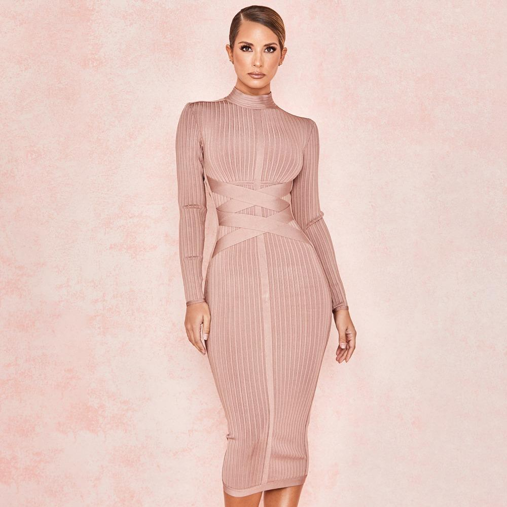 546bcb21f7a Long Sleeve Cross Strap Ribbed Nude Christmas 2019 Women s New Fashion Sexy  Bodycon Pattern Winter Knee-Length Bandage Dress C18121701