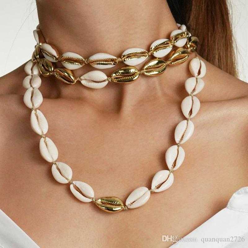 European and American explosions shell necklace set collection gold alloy natural shell handmade knotted necklace female