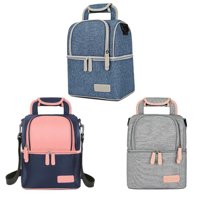 New Women Multifunction Lunch Bag Double Layer Fashion Portable Cooler  Picnic Bags for Lady Thermal Lunch Box Kids Milk Bag
