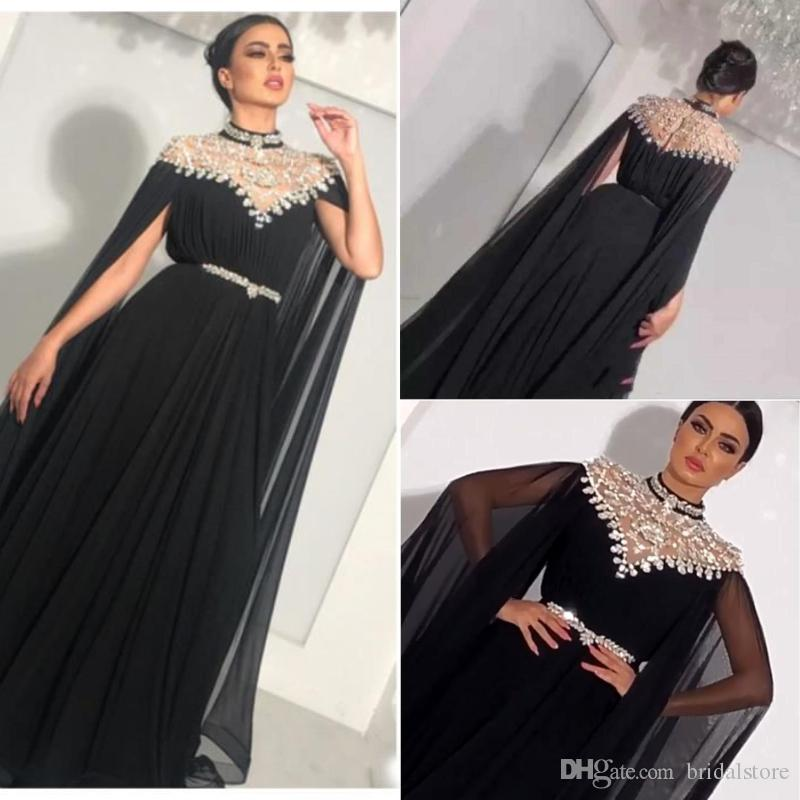 Zuhair Murad High Neck Evening Dresses Black Crystal Beaded Chiffon Saudi Arabic  Dubai Luxury Prom Formal Gowns With Sleeve For Women Party Evening Gowns ... 81f76a3b9764