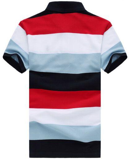 패션 무지개 남성 스트라이프 폴로 셔츠 짧은 소매면 작은 포니 자수 화려한 T 셔츠 남성 슬림 현혹 캐주얼 폴로 Camisa 레드
