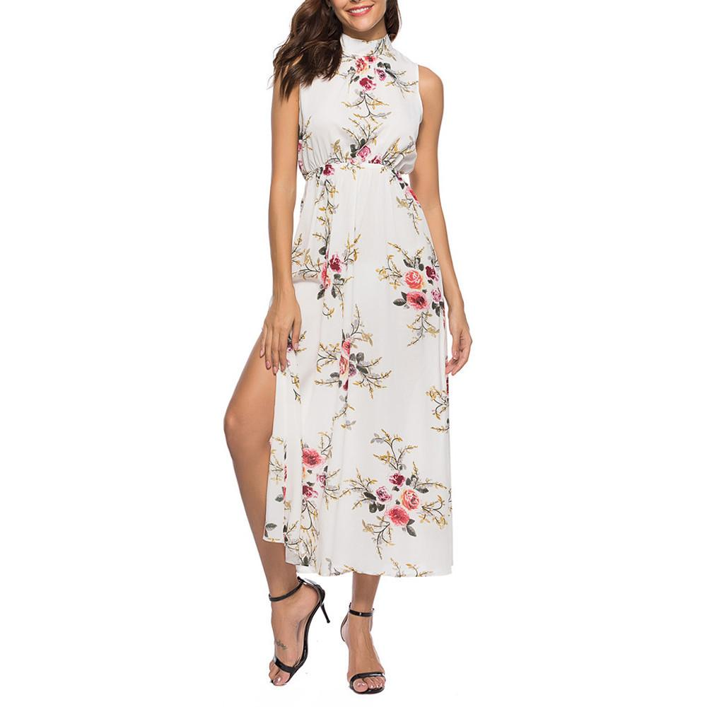 eca255ade90 Women Bohemia Floral Print Summer Dress 2018 Casual Short Sleeve O Neck  Beach Boho Long Dress Loose Mid Calf Dresses Vestido Dress Maxi Dresses  From ...