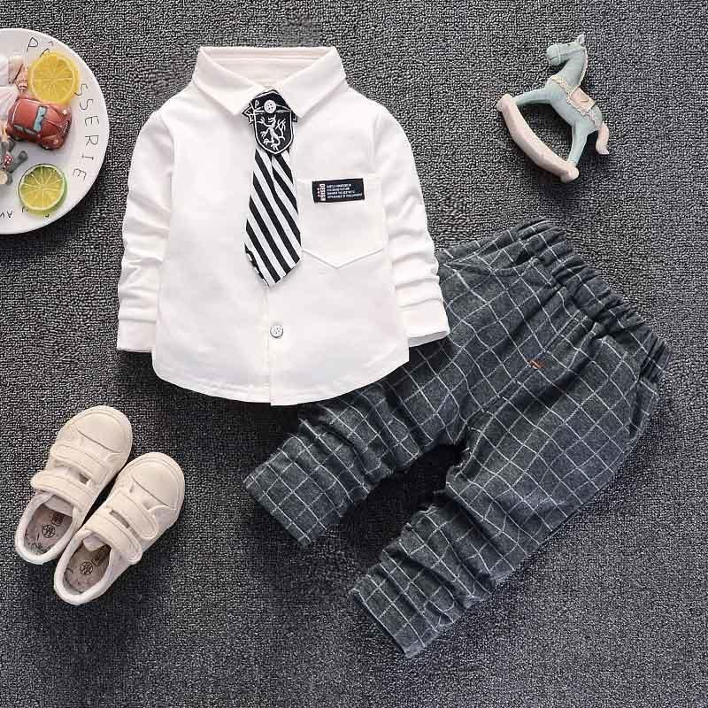 b7f41357edcd7 Acheter Bonne Qualité Bébé Garçon Vêtements Ensembles 2019 Mode Printemps  Manches Longues Formel Monsieur Mis Pour Bébé Tenue Enfants Vêtements  Costume De ...