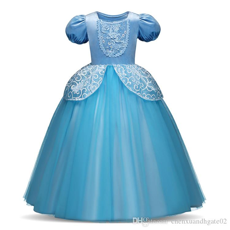 5f44392fddde2 4 7 8 9 10 Years girls princess dress Children Role-Play Costume Princess  Cinderella Girls Ball Gown Party Christmas birthday gift