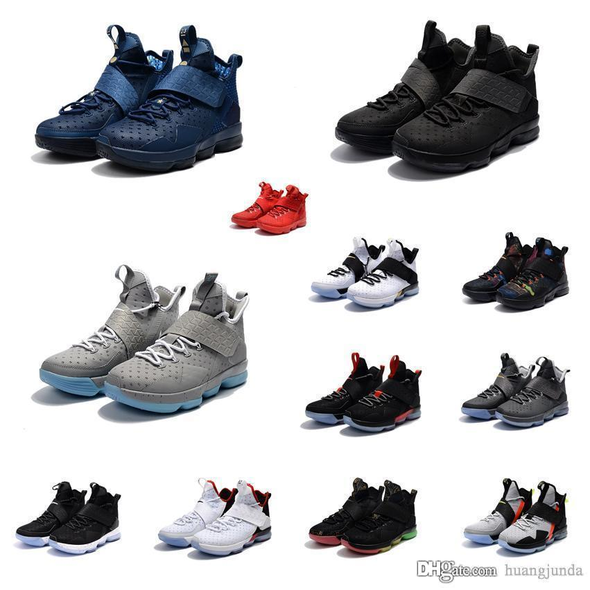 ae6756523f4 2019 Cheap Mens Lebron 14 Shoes BHM Christmas Black White Grey Team Red Blue  Gold Unlimited Youth Kids Sneakers With Box From Huangjunda