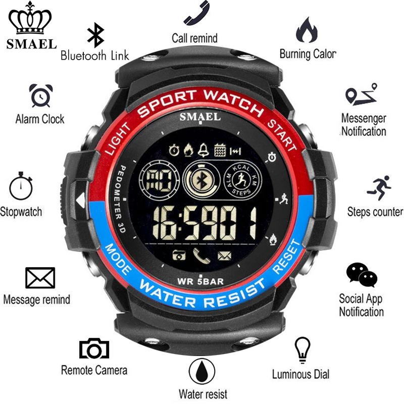 bb308d752e48 Compre Smael Sports Mens Smart Watch Men Podómetro De Calorías Recordatorio  Multi Funciones SmartWatch Relojes De Pulsera Digitales Para Hombre  Bluetooth A ...