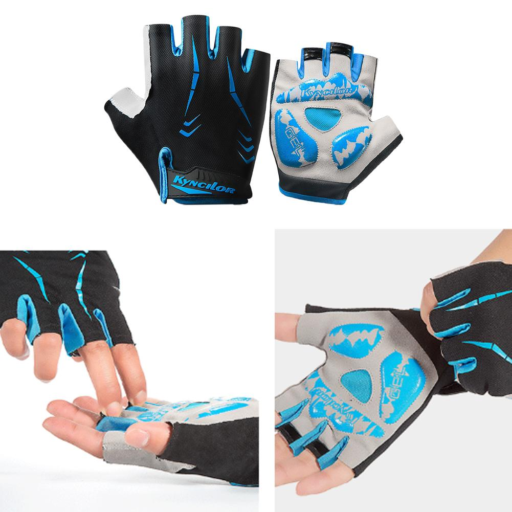 1 Pair Anti Slip Shockproof Professional Racing Practical Bike Gloves Outdoor Riding Half Finger Cycling Protective Nylon Sports