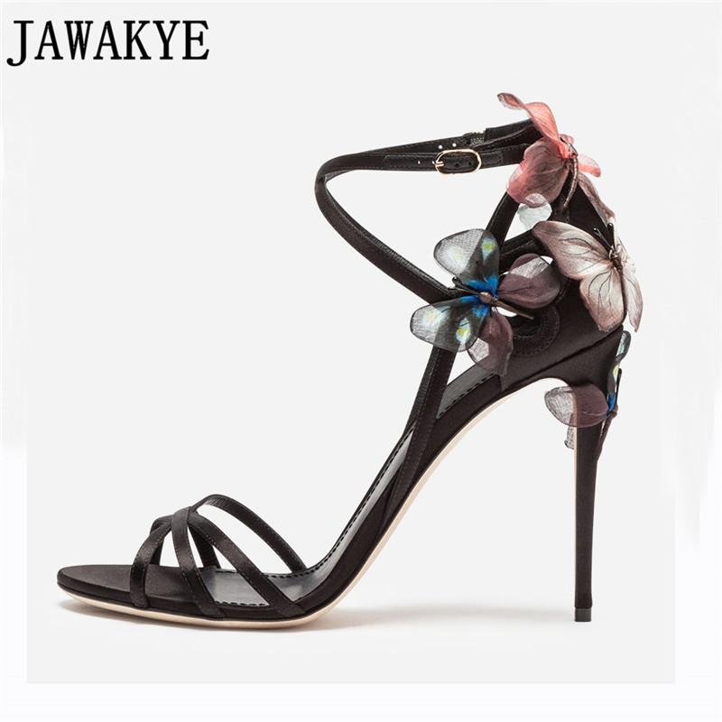 95bc6ebaef4 Summer Yellow Black Sandals Women Butterfly Flowers Embellished High Heels  Strappy 2018 Sexy Wedding Shoes Zapatos Mujer Wedge Heels Pink Shoes From  ...