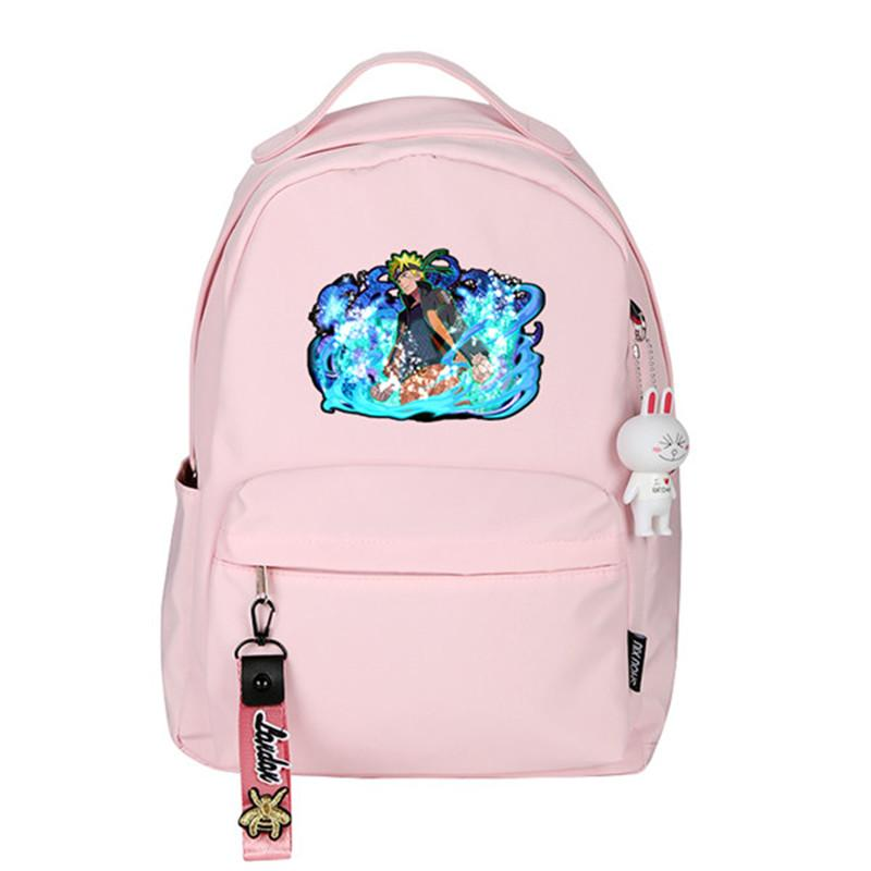 Anime NARUTO Printing Women Backpack Rabbit Pendant Travel Backpack Pink Cartoon Rucksack Canvas School Bags for Teenage Girls