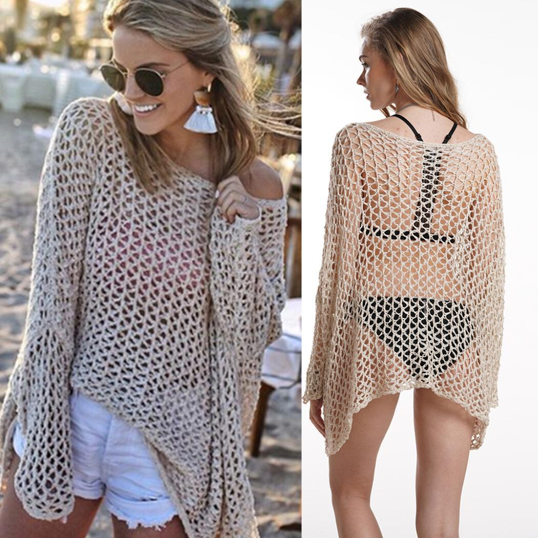 Women Casual O-Neck Long Sleeve Hollow Plaid Swimsuit Pullover Summer Cover Up Beach Top Loose Regular