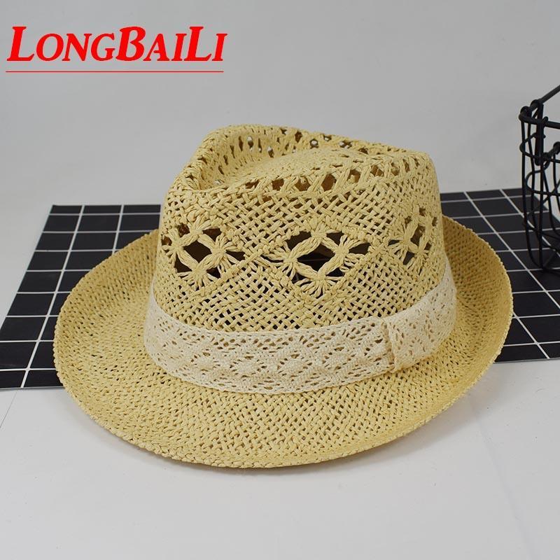 3f96b413bb 2019 Summer Women Straw Fedora Hats Chapeu Casual Sun Beach Hats Cutout  Panama Jazz Trilby Caps MEDS037 From Naixing, $24.55   DHgate.Com