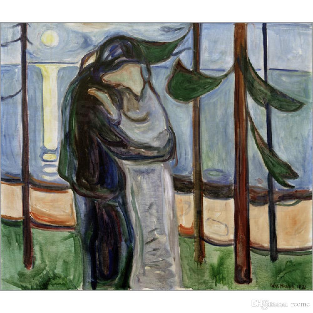 2019 Wall Art Edvard Munch Oil Painting For Sale Kiss On The Beach