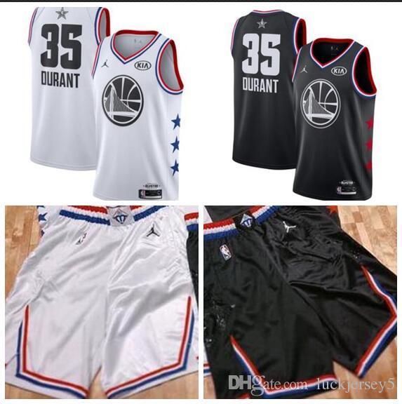 addf968db 2019 Men S Golden State Kevin Warriors 35 Durant Brand White Black 2019 All  Star Game Finished Swingman Jersey From Goodjersey2
