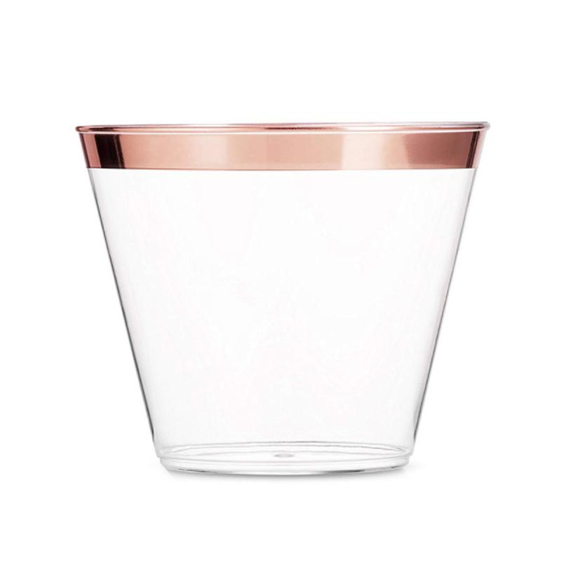 50Pcs Fashion Disposable Wine Glass Edging Decor Plastic Wine Juice Glass Cup for Wedding Party Champagne Cocktail Cup Supplies SH190920