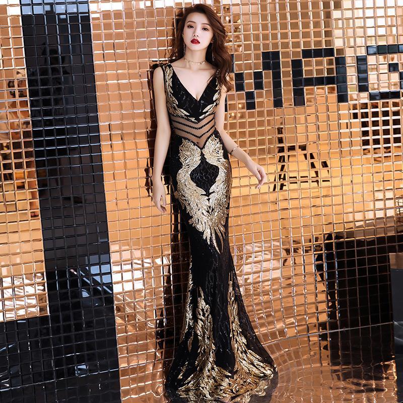 dcf4e67b8653f Weiyin Double-v Embroidery Mermaid Evening Dress Prom Gowns Formal Party  Dress Vestido De Festa Elegant Luxury Robe Longue Wy723 Y190525