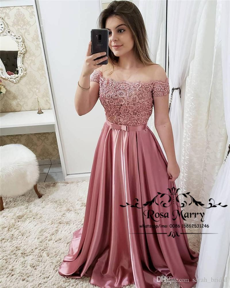 015647941 Pink Off Shoulder Cheap Long Prom Dresses 2019 A Line Vintage Lace Beaded  Arabic Girls Formal Graduation Evening Party Gowns Maternity Prom Dresses  Off The ...