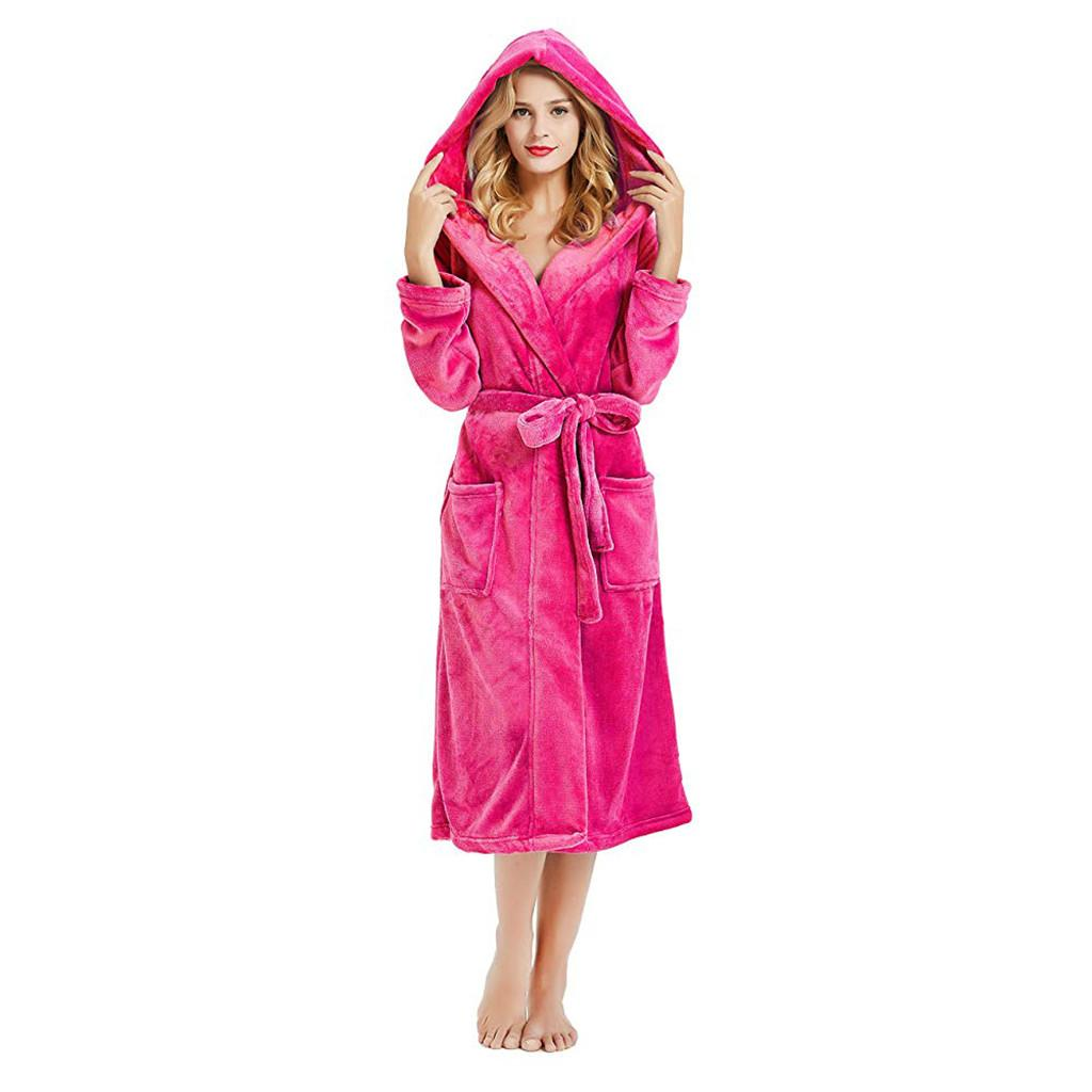 bd587db72a8f 2019 Night Woman Nightgown Women S Winter Hooded Lengthened Plush Shawl  Bathrobe Sleepwear Long Sleeve Coat Women S Clothing 2019 From Workwell