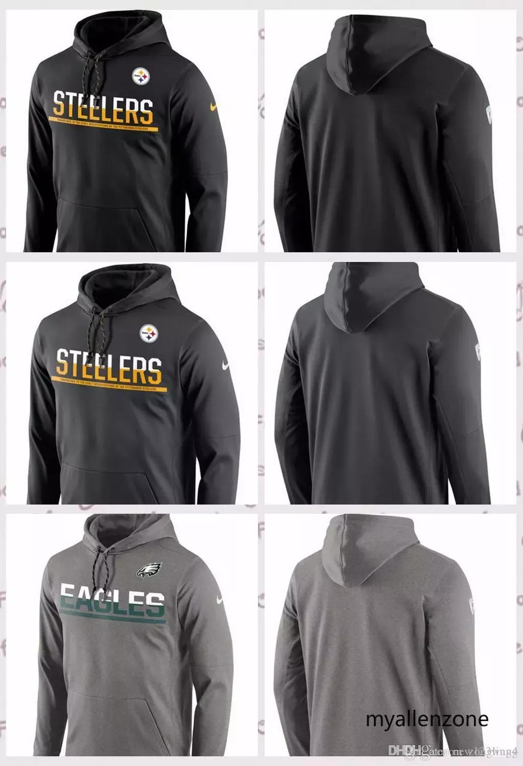 best sneakers a98c1 7664e Pittsburgh Steelers Philadelphia Eagles Sideline Circuit Pullover  Performance Hoodie Black Anthracite Gray