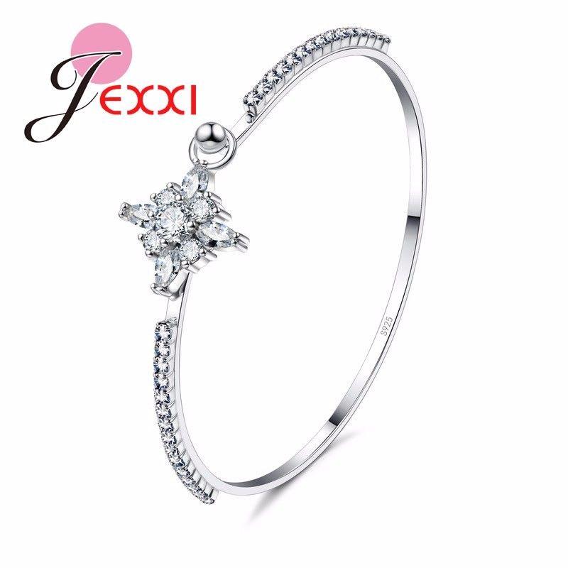 JEXXI Best Gifts Bridal 925 Sterling Silver Bangle Bracelet Cubic Zirconia Stone Cross Design Pendant Bangle Bracelets