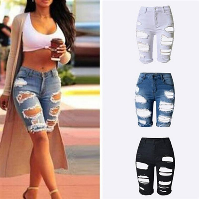 a6c735a4160 2019 High Waist Zipper Fly Knee Length Pants Ripped Jeans For Women  Distressed Hole Denim Jeans Ripped Boyfriend Skinny From Yaojao