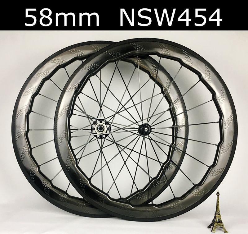 e5c60a739 Tubeless NSW 454 58mm carbon wheelset dimple surface carbon wheels road bike  25mm width wavy crow s feet clincher tubular wheel Z logo hubs