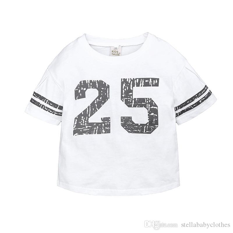 2019 new best selling children's clothing children's knit printing digital 25 casual sports loose T-shirt baseball wind
