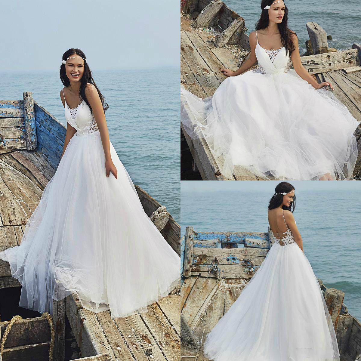 Discount 2019 Bohemian Wedding Dresses Spaghetti A Line Sweep Train Tulle  Simple Beach Wedding Dress Lace Appliques Custom Made Boho Bridal Gowns  Wholesale ... 24387df8f8d2