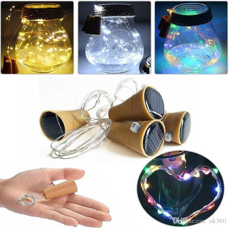 10LED 20LED Garland Solar Wine Bottle Lights Night Cork Fairy String Light Wine Bottle Lamp christmas Light Party Celebration Decoration