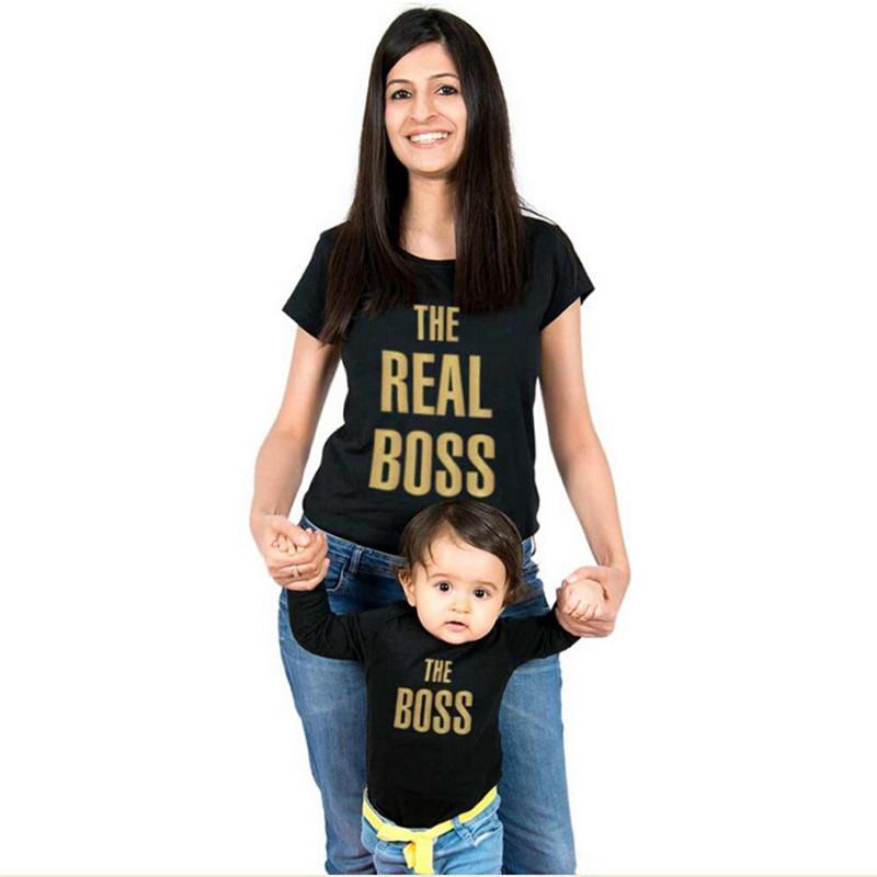 Matching família roupas de verão mamãe e me veste MAMÃ T-shirt de harmonização KID do bebé Romper shirts Roupa família T Tops