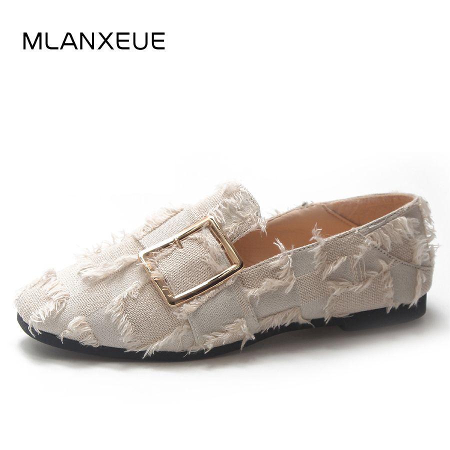 894b39e203 Compre Designer De Sapatos De Vestido MLANXEUE Retro Quadrado Cabeça Mulheres  Único Borla Moda Feminina Único Deslizamento No Cinto Fivela Mulher Outono  ...