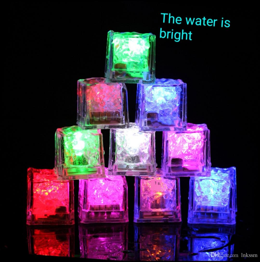 Party Bar Glowing Ice Blocks Water Bright LED Fluorescent Blocks Colorful Flash Ice Blocks Flash Sensitive Ice Lights KTV Bar Wedding Suppli