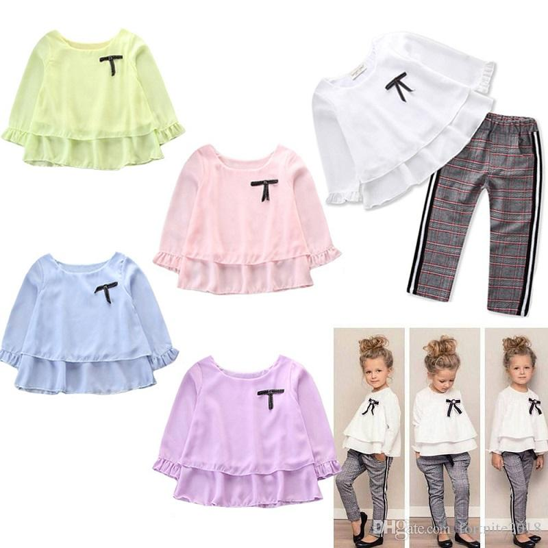 f3676f53ce7de 2019 Baby Girls Lace Tops Checkered Pants Set Kids Ruffle T Shirt Long  Sleeves Tops Plaid Pants Clothes Set Little Girl Spring Autumn Clothes From  ...