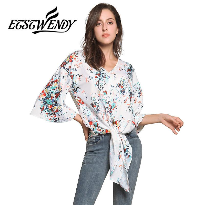 db61e9e23368 2019 New Summer 2019 Women Casual Chiffon Blouse Sexy V Neck Printed  Bandage Design Loose Shirt Plus Size Soft Thin Women Summer Tops From  Jincaile03