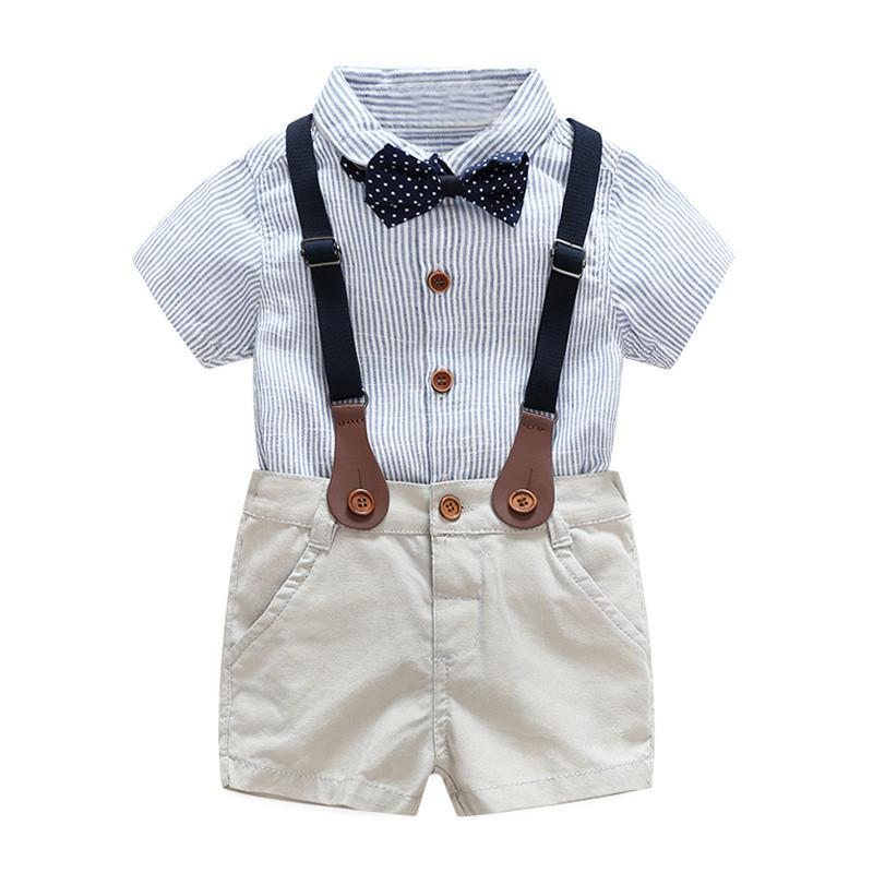 b5248d0943d Baby Boy Gentlemen Outfits Sets Summer Newborn Baby Boy Clothing Sets Tie  Shirt+Overall Infant Clothes For Party Wear Australia 2019 From Funibaoluo