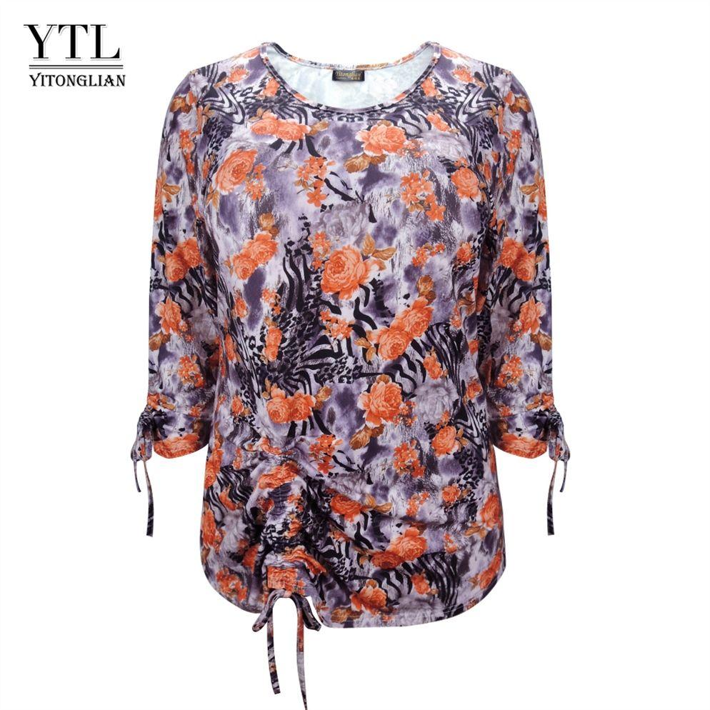 c62ac01b6b YTL Ladies Plus Size Top Autumn Comfortable Vintage Leopard Flower Pattern  Office Casual Tunic Tie Blouse Shirt 6XL 7XL 8XL H155 #398769