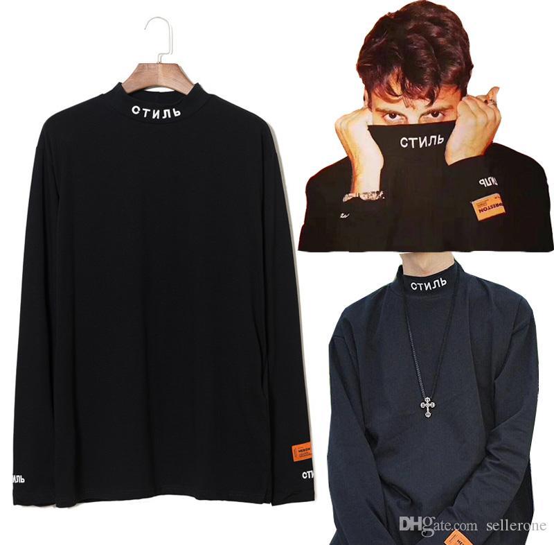63c1a000509a Fashion Hip Hop HERON PRESTON STYLE Mock Neck LooseT Shirt Men Women Long  Sleeve Cotton Tee Shirt Letters Embroidered Turtle Neck Sweatshirt 10 T  Shirt ...
