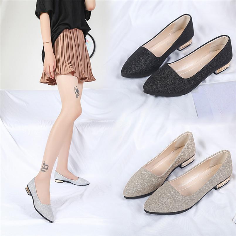 38bd6f9df1ce 2019 женщины блестки мелкой скольжения на низком каблуке партии обувь  указал один ...