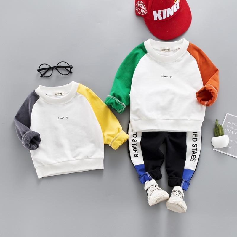0-4 year High quality boy girl clothing set 2019 new active sport patchwork kid suit children baby clothing T-shirt+pant