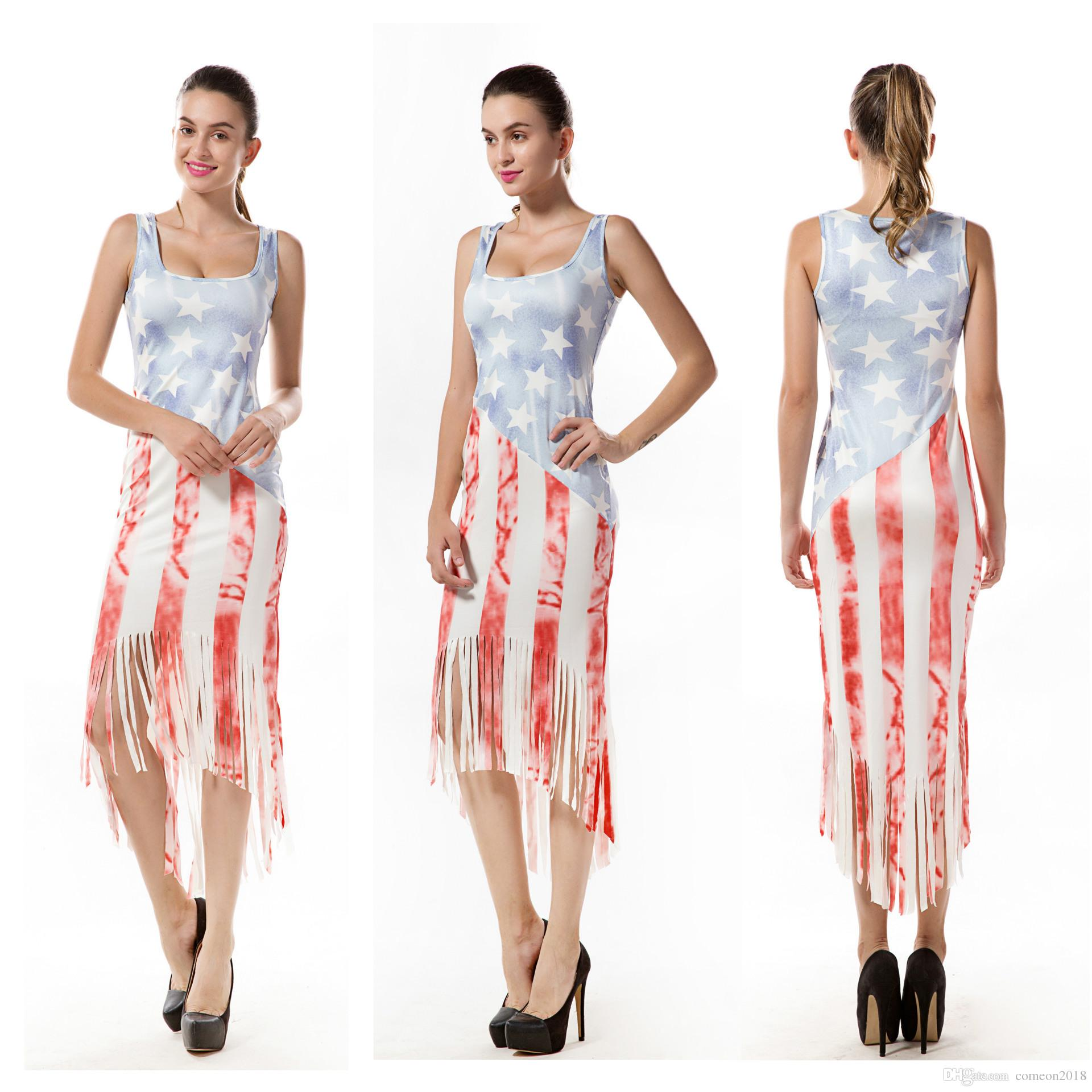 7a2f814d773 Women Ladies Stars Stripe Maxi Dress Tassels 4th Of July Party Independence  Day Plus Size Women Clothing Sleeveless Maternity Print Dresses Short  Formal ...