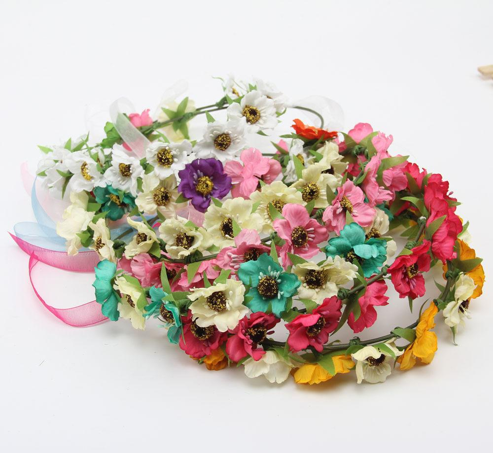 Flower Crown Headband Hair Wreath Wedding Flower Tiaras Bridal Wreaths Garland Boho Crowns For Brides Head Pieces Headwear Fascinator Hats