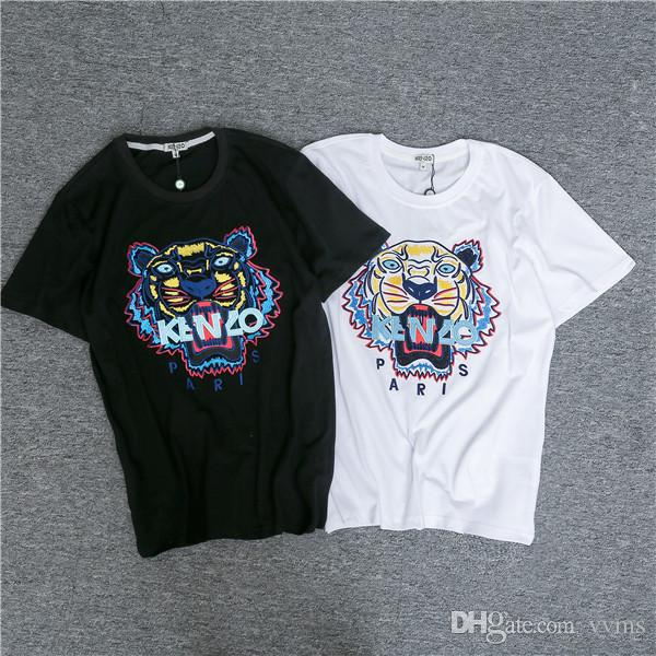 3e9851fc Early Spring New Kenzos Round Collar Short Sleeve T Shirt Classic Tiger  Letters Embroidery Stitching Short Sleeve Couple Size: S Xxl Design And  Order T ...