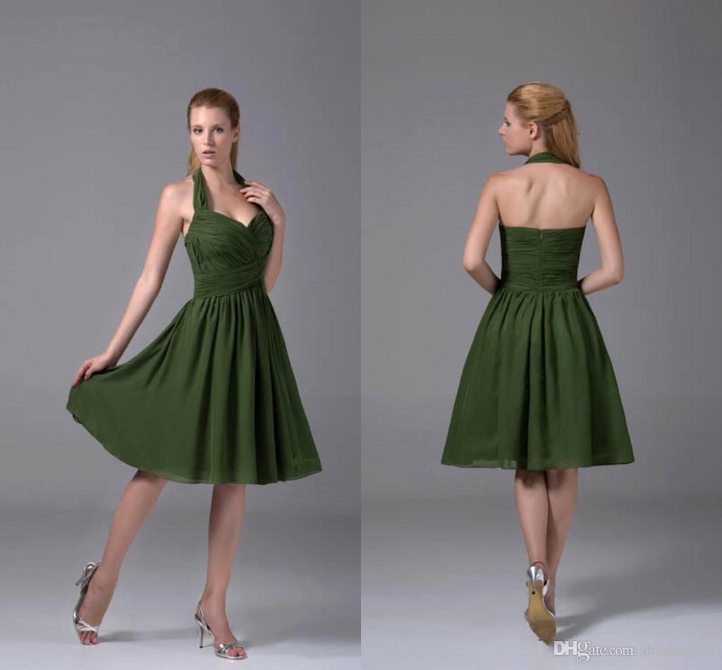 6767d6e495dc7 Satın Al Koyu Yeşil Diz Boyu Şifon Mezuniyet Elbiseleri Halter Sevgiliye  Boyun Dantelli Kokteyl Elbise Kısa Parti Kıyafeti Kızlar Mini Etek BC1672,  ...