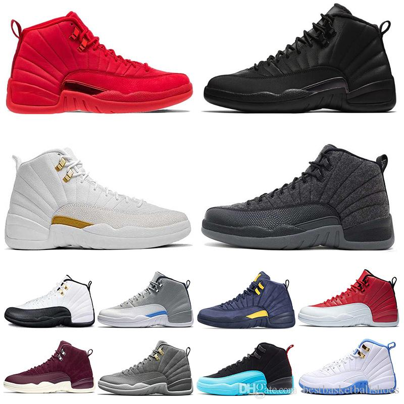 41dde80fad3 Fashion Mens 12s Basketball Shoe Winterized WNTR Gym Red Michigan Bordeaux  12 Black The Master Flu Game Taxi Sports Sneaker Trainers 7-13 Basketball  Shoes ...